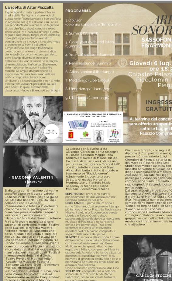 Concerto chiostro palazzo Piccolomini Pienza  6 luglio2017